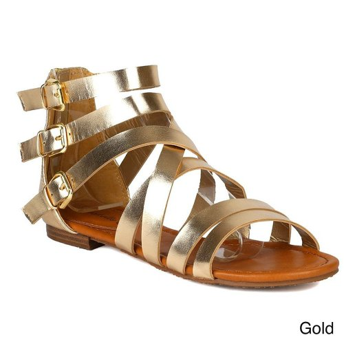 Breckelles Women'S Covina-14 Strappy Buckle Detailed Gladaitor Flat Sandal,6.5 B(M) Us,Gold front-321661