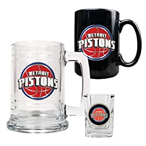 NBA Detroit Pistons 15-Ounce Tankard, 15-Ounce Ceramic Mug & 2-Ounce Shot Glass... by Great American Products