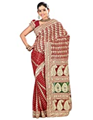 Designer Magnetic Red Colored Embroidered Faux Georgette Saree By Triveni