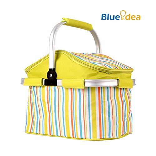 Blueidea Folding Storage Basket Aluminum Frame Picnic Baskets Foldable Shopping Cooler Basket with Ice Pack For Traveling Camping Lunch Bag Fishing Backet Outdoor Activities (Aluminum Wine Cooler compare prices)