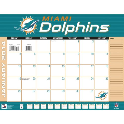 Turner - Perfect Timing 2014 Miami Dolphins Desk Calendar, 22 x 17 Inches (8061354) at Amazon.com