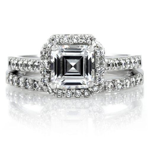 Celebrity Star Emitations Devon's 1.5 CT Asscher Cut CZ Wedding Ring Set Size 12