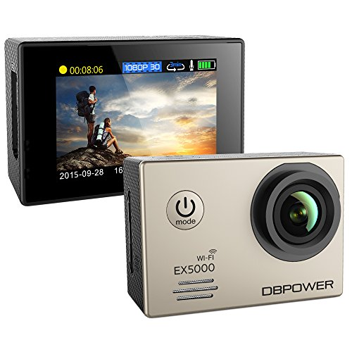 DBPOWER® EX5000 Originale Versione WIFI 14MP FHD Sport Action Camera Impermeabile con 2 batterie e kit accessory inclusi (Argento)