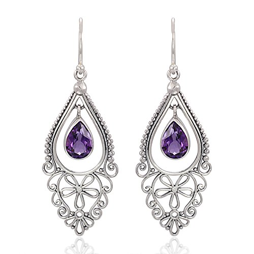 925 Sterling Silver Bali Filigree Chandelier Design w/ Purple Amethyst Dangle Earrings