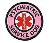 Pink PSYCHIATRIC SERVICE DOG Medical Alert Symbol 2.5 inch Sew-on Patch, Crafts Direct