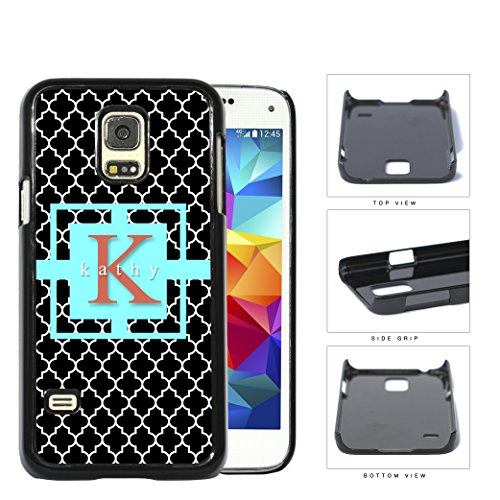 Black White Quatrefoil Wave Pattern Aqua Blue Color Center Square Stripe Initial Letter Name Monogram Samsung Galaxy S5 (MINI) SM-G800H Hard Snap on Plastic Cell Phone Case Cover (Samsung S5 Mini Initial Covers compare prices)