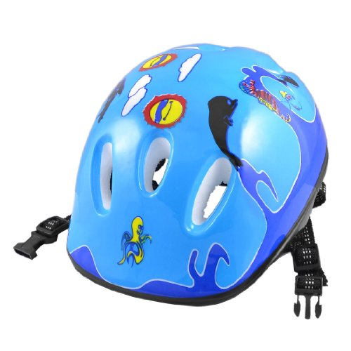 Como Sea Horse Fish Sun Pattern Blue Foam Sports Cycling Skating Helmet for Children