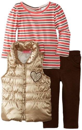 Young Hearts Little Girls' 3 Piece Striped Heart Vest And Pant Set, Beige, 2T front-219426