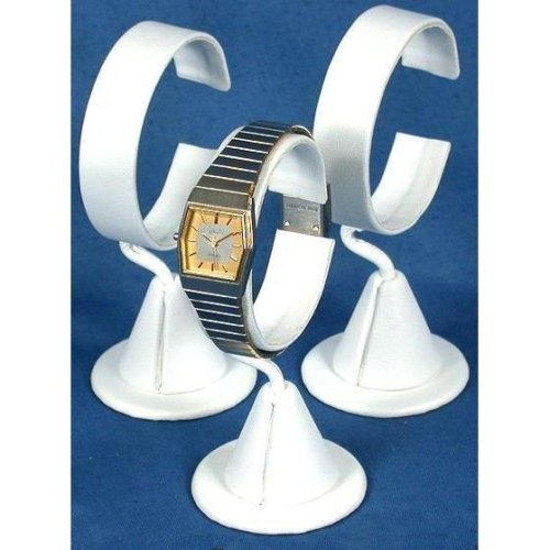 3 White Leather Wrist Watch Jewelry Showcase Displays