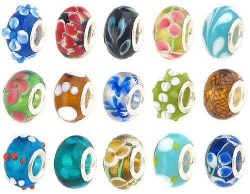 Bundle Monster 50pc Lot Silver Lampwork Murano Glass European Mix Beads - Compatible with Pandora, Biagi, Troll, Chamilia