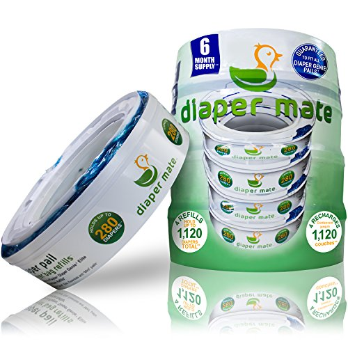 Diaper Mate Refill for Diaper Genie Diaper Pails 4 Pack - 1,120 Count - 6 Month Supply (Up And Up Target Brand compare prices)