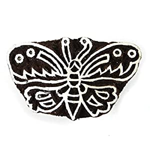Bloc Bois Butterfly Art Stamp main Craved Impression Textile bloc timbre Inde