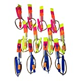 12 Amazing Arrow Rocket Copters. Led Light Helicopter Flying Toy - Elastic Powered Sling Shot Heli.