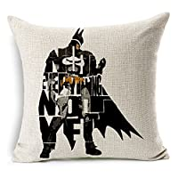 "Cotton Linen Square Decorative Throw Pillow Case Cushion Cover The avengers alliance iron man letters hero batman 18 ""X18 ""inches by DIY ARTICLE"