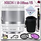 Nikon 1 NIKKOR 10-100mm f/4.0-5.6 VR Lens (White) + 3pc Filter Kit + Soft Lens Pouch 11pc Nikon Saver Bundle