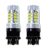Genssi 2x 80W White 3157 3057 High Power LED 12V Turn Signal Brake Reverse