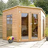 8ft x 8ft Contemporary Corner Shiplap Pent Wooden Garden Summerhouse - Brand New 8x8 Tongue and Groove Wood Summerhouses