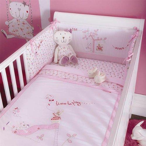 Izziwotnot Baby Fleur Cot Bed Coverlet Bedding Bale (5 Piece, Pink)