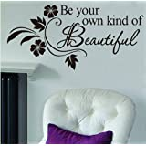 FOAL Be Your Own kind of Beautiful Decals Flower Vine Wall Sticker Art Decor, 31 x 65 cm, Black, Pack of 1