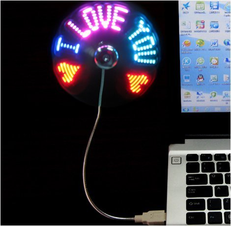 (New RGB version) USB LED RGB Programmable Fan for PC Laptop Notebook Desktops Flexible Gooseneck Mini USB Programmable Fan (Message Fan Usb Port compare prices)