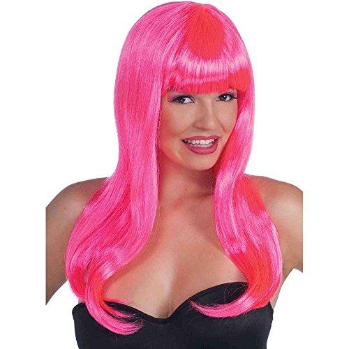 Sassy Neon Pink Long Wig - 1