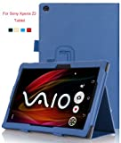 VSTN® Sony Xperia Z2 Tablet Stand PU Leather Cover Case with Hand Strap&Card Holder (For Sony Xperia Z2 Tablet, Blue)