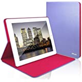 JETech® Diamond 2 Serial Folio Leather Smart Cover iPad Case for Apple iPad 2, iPad 3, and the New iPad 4 with Built-in Stand and Front/Back Protection (Latest Version with Built-In Magnet for Sleep/Wake Feature) (Purple/Plum)