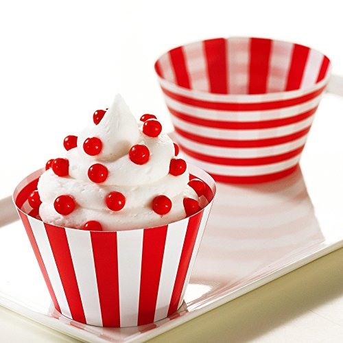 Red and White Reversible Cupcake Wrappers - 1