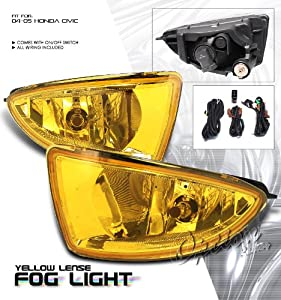 Yellow OEM SPEC. Fog Light - Honda Civic 2004-2005 (With Wiring Kit) 2/4 Door