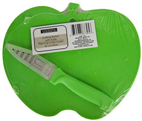 Green Apple Shaped Cutting Board with Knife