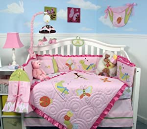 SoHo Pink Critter Baby Crib Nursery Bedding Set 13 pcs included Diaper Bag with Changing Pad & Bottle Case