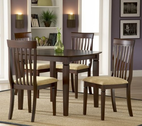 Buy Low Price Hillsdale 5pc Dining Table and Chairs Set with Slat Back in Cappuccino Finish (HS-4138SQS5PC)