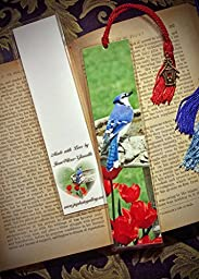 Spring Bluejay Blue Jay Bird & Red Tulips at Birdbath Bookmark w/ Antique Bronze Birdhouse Charm Fine Art Photography Photo Laminated Handmade Bookmark