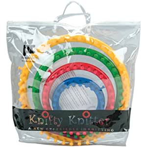 Genuine Knifty Knitter Round Loom Set with 4 Looms, Hook & Bag