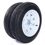 "Two 12"" Trailer Tires Rims 4.8-12-4PR-5LUG P811 Wheel White Spoke"
