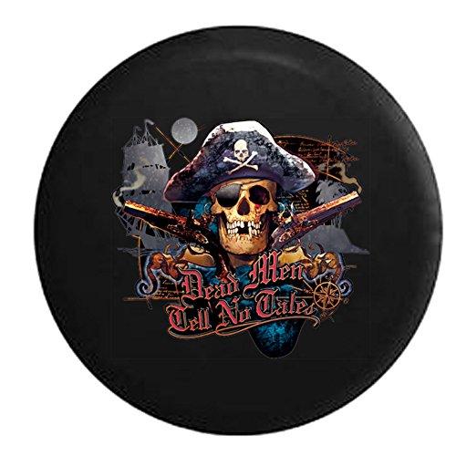 Dead Men Tell No Tales Pirate Skull & Crossbones Sea Compass Spare Tire Cover Black 26-27.5 in (Pirates Jeep Tire Cover compare prices)