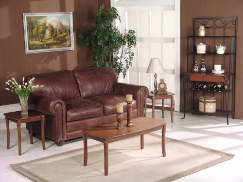3 Piece Walnut Wood Finish Coffee Table & 2 End Tables Set
