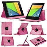 Stuff4 MR-NX7-2-L360-PAT-DMND-PK-STY-SP Diamond Designed Leather Smart Case with 360 Degree Rotating Swivel Action and Free Screen Protector/Stylus Touch Pen for 7 inch Google Nexus 7 - Pink