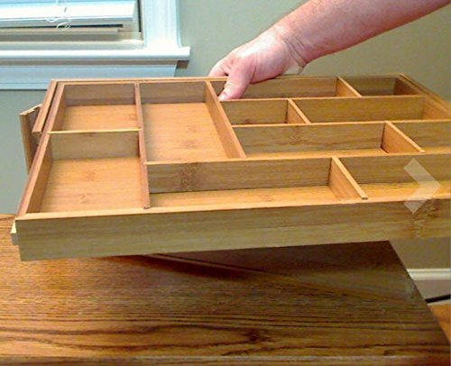 best silverware kitchen drawer organizer  expendable bamboo tray with adjustable dividers eliminate clutter great as a flatware     silverware kitchen drawer organizer  expendable bamboo tray with      rh   annalinens co