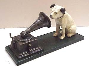 HMV Dog & Gramophone White Black Ears Finish Cast