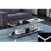 Convenience ConceptsRoyal Crest Coffee Table, Chrome/Black Glass