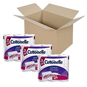 Cottonelle Ultra Comfort Care Toilet Paper, Mega Roll, 9 Count (Pack of 3)