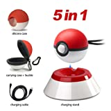 5 in 1 Pokeball Plus Charger Stand Charging Station Holder Fast Charging Cord Cable, Carrying Case, Silicone Cover Pokeball Accessories Kit for Nintendo PokÉMon Lets Go Pikachu Eevee Game Controller (Color: 5 in 1 Pokeball Plus)