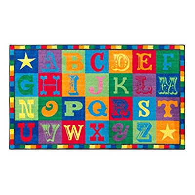 "Flagship Carpets CE191-28W Early Blocks Rug, All 26 Letters Provides a Unique Learning Spot for Everyone, Children's Classroom Educational Carpet, 5' x 8', 60"" Length, 96"" Width, Multi-Color"