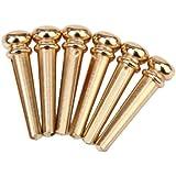 6Pcs Brass Bridge Pins for Acoustic Guitar - Golden