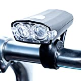 Shining Buddy® USB Rechargeable, Water Resistant LED Bike Headlight | 3 Modes - High, Low & Strobe | With Handlebar Mount and Charging Cable, Black