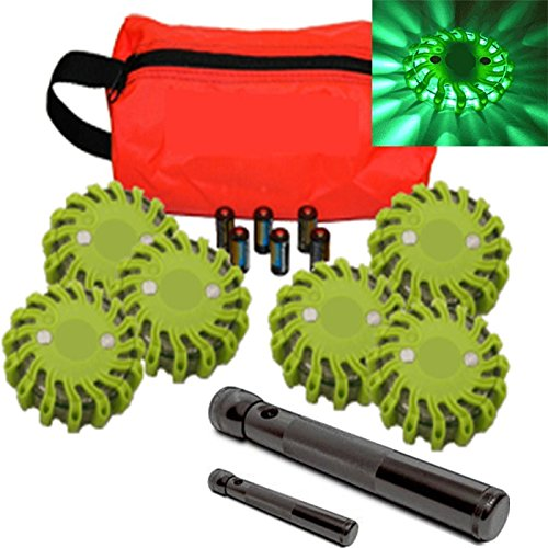 6 Pack Green Replaceable Battery Waterproof Led Magnet Safety Flare With 9 Operating Modes + Free Lithium Ion Batteries, Travel Bag, And Led Flashlight Set