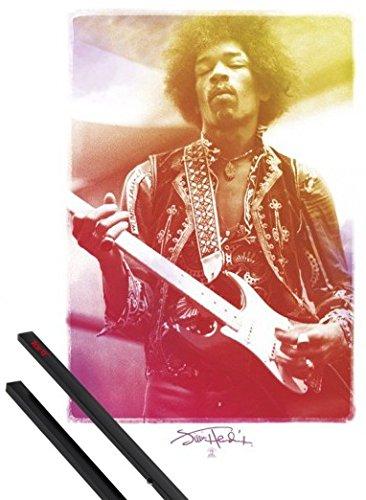 Poster + Sospensione : Jimi Hendrix Poster Stampa (91x61 cm) Legendary Experience e Coppia di barre porta poster nere 1art1®