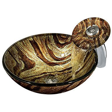 Colourfull Round Tempered Glass Vessel Sink with Waterfall Faucet ,Pop - Up Drain and Mounting Ring