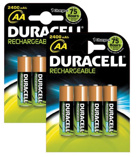 piles rechargeables duracell rechargeable 2400 mah aa batteries 8 pack. Black Bedroom Furniture Sets. Home Design Ideas